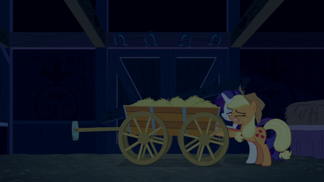 File:Applejack and Rarity seal door with hay cart S6E15.png