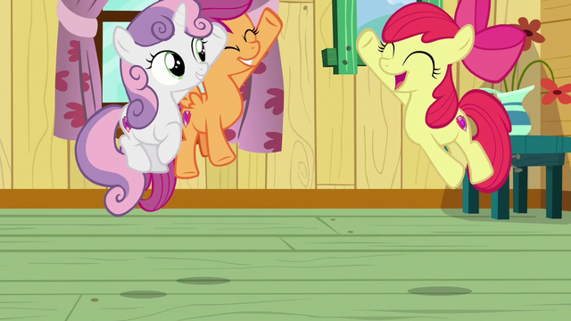 File:The Cutie Mark Crusaders jump in excitement S6E4.png