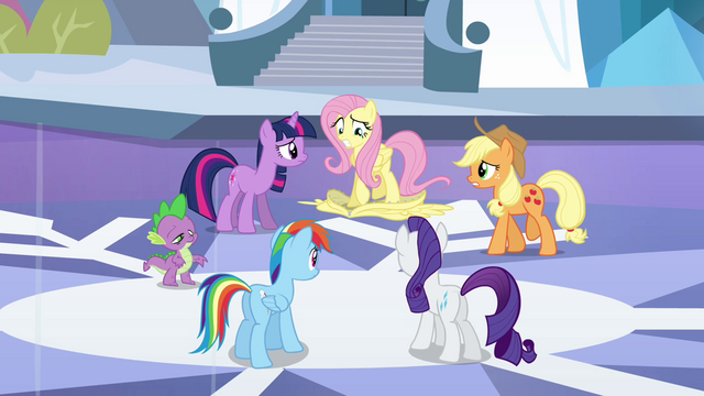File:Fluttershy steps on disguise S3E1.png