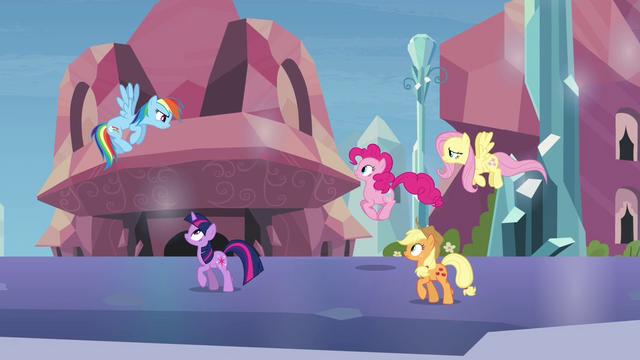 """File:Main ponies """"stay one step ahead"""" S03E12.png"""