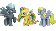 Thunderlane, Derpy and rainbowfied Fluttershy toys