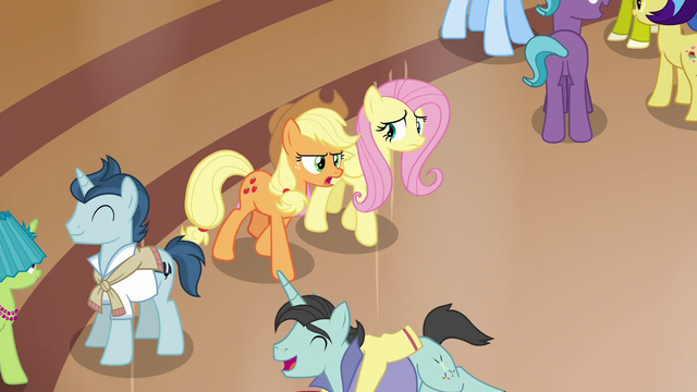 File:Applejack and Fluttershy enter the resort lobby S6E20.png