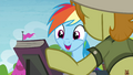 Rainbow Dash smiling at Daring Do first edition S4E22.png