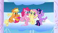 Applejack, Pinkie Pie, Fluttershy and Twilight watching the Sonic Rainboom S01E16.png