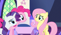 Rarity and Pinkie wait for Fluttershy's answer S5E01