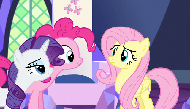 File:Rarity and Pinkie wait for Fluttershy's answer S5E01.png