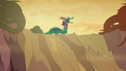 Twilight, Rarity and Rainbow in a dragon costume S2E21.png