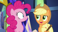 "Applejack ""Shining Armor and Cadance are held up"" S5E19"