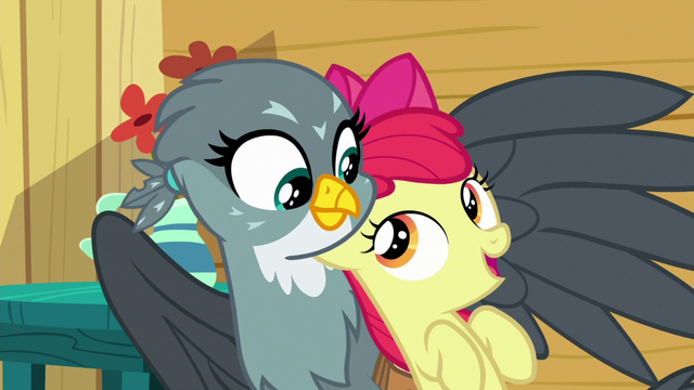 File:Apple Bloom starts singing to Gabby S6E19.png