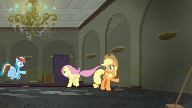 File:Fluttershy runs towards the room Rarity is in S6E9.png
