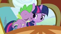 Spike on Twilight's back 3 S3E2