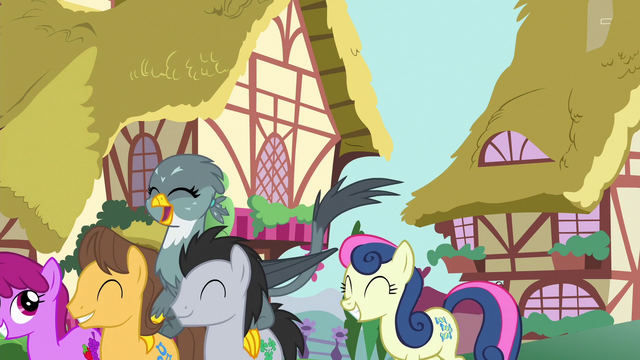File:Ponyville ponies hold a parade for Gabby S6E19.png
