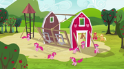 Pinkie Pie clones surrounding the barn S3E03.png