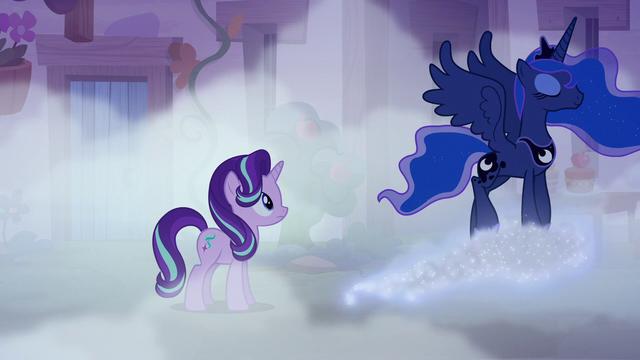 File:Princess Luna walking away on a glittery cloud S6E25.png