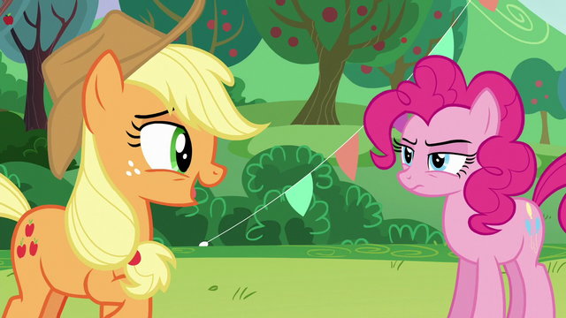 "File:AJ ""...were the same Coloratura?""; Pinkie with serious face S5E24.png"