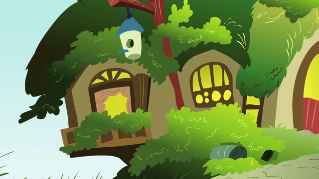 File:Fluttershy's cottage exterior; left side close-up S6E11.png