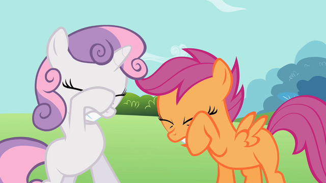 File:Sweetie Belle and Scootaloo shielding their eyes S2E06.png