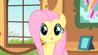 Fluttershy stares at Ponyville clock tower S01E22
