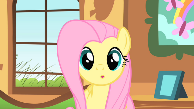 File:Fluttershy stares at Ponyville clock tower S01E22.png