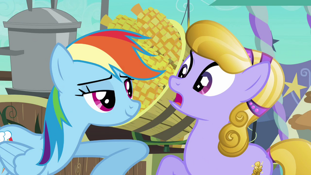 File:Rainbow Dash harasses Amber Waves S3E01.png