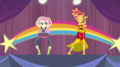 Fluttershy and Sunset Shimmer on the stage EGS1.png