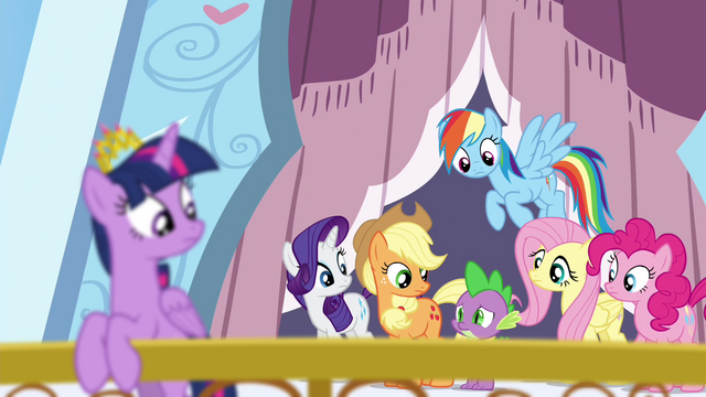 File:Mane 6 looking at Spike S4E25.png
