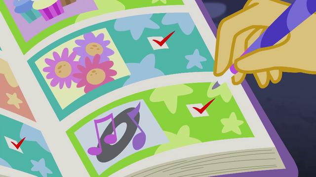 File:Sunset Shimmer making a Gala checklist EG4.png