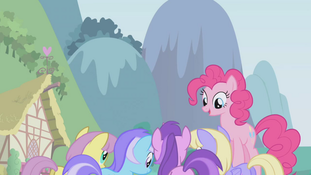 File:Pinkie Pie above other ponies S1E3.png