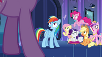 Main cast and Cadance look at Twilight EG