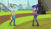Ponied-up Rainbow walks up to Twilight EG3