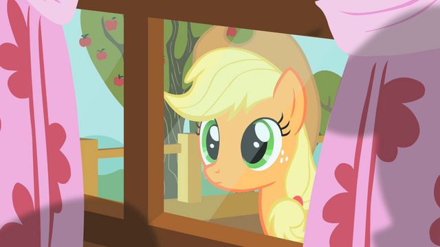 File:Applejack peering through window 2 S01E18.png