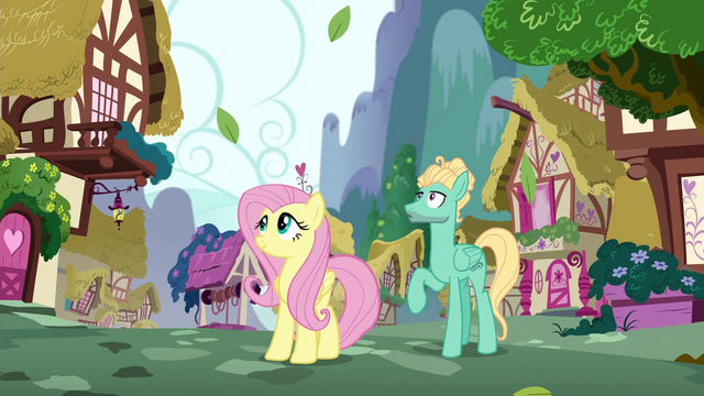 File:Fluttershy and Zephyr look up at Rainbow S6E11.png