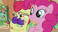 Apple Bloom whispering to Pinkie S5E20