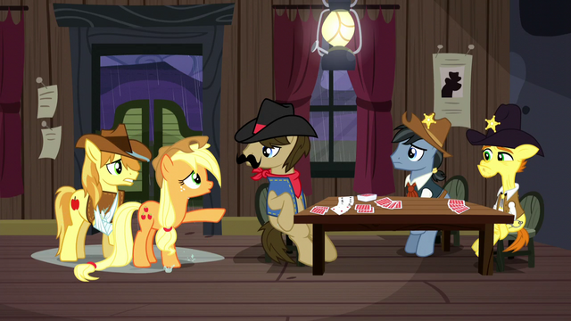 "File:Applejack ""it must've been Trouble Shoes!"" S5E6.png"