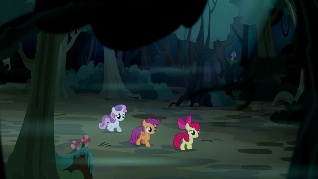 File:Cutie Mark Crusaders wander through the woods S5E6.png