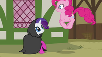Pinkie Pie jumping in front of Rarity S3E3