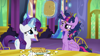 Rarity removes pancake from Twilight's horn S5E3