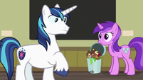 Shining Armor and Amethyst Star make eye contact S7E3