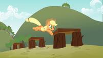 Applejack jumping over the hurdles S3E08
