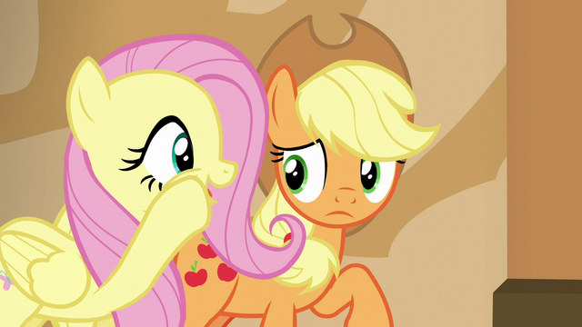 File:Fluttershy whispering to Applejack S6E20.png