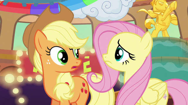 File:Applejack and Fluttershy look at each other confused S6E20.png