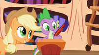 Applejack dictating to Spike S2E3
