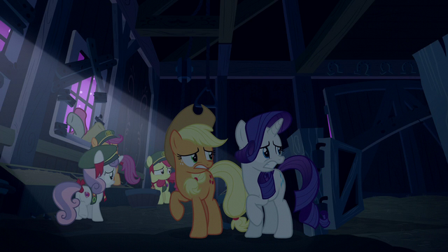 File:AJ, Rarity, and CMC scared of the zombies S6E15.png