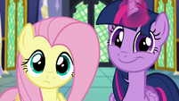 Twilight and Fluttershy enter the throne room S5E23