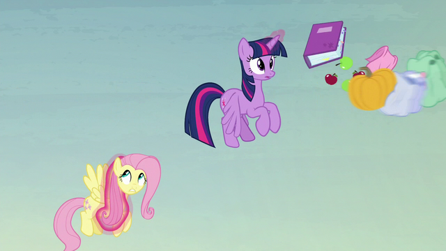 File:Flying pumpkin hits Twilight and Fluttershy's bags S5E23.png