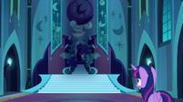 Twilight sees Nightmare Moon on her throne S5E26