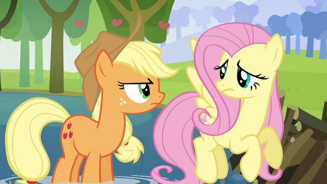 "File:Applejack and Fluttershy ""what's he going on about now?"" S03E10.png"