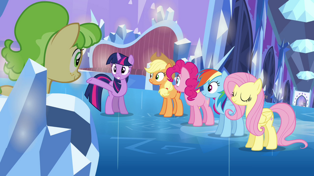 File:Main ponies and Peachbottom in the castle S03E12.png