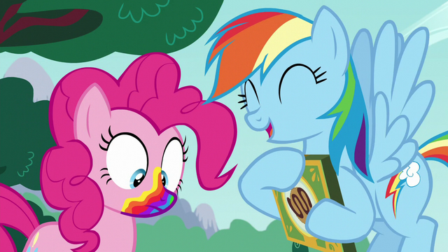 File:Pinkie with rainbow mouth; Rainbow laughing S6E15.png