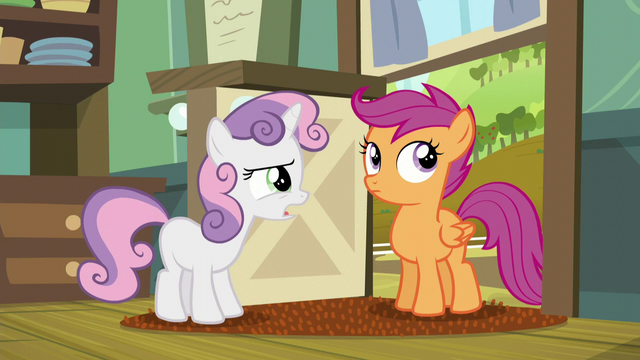 File:Sweetie Belle brings up the fact that Scootaloo and Rainbow are not technically sisters S5E17.png